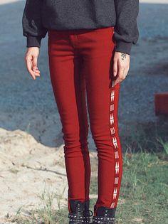 Embroidered Skinny Leg Pants