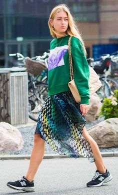 Chanel bag and New Balance shoes. Photographed by Style Du Monde at Copenhagen Fashion Week.