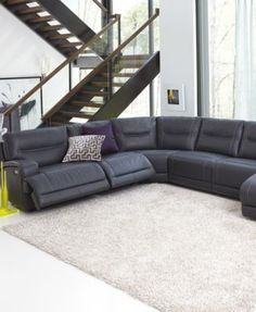 Warrin 5 Piece Leather Chaise Sectional With 2 Power Motion Recliners Furniture Pinterest