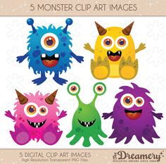 5 Monster Clip Art Images - INSTANT DOWNLOAD - PNG - Invitations, Party, Baby Shower, Birthday