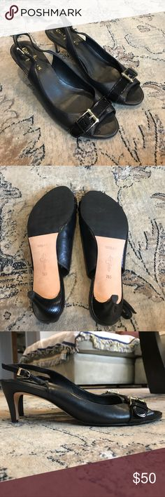Cole Haan NikeAir kitten heels Cole Haan NikeAir Kitten heels in black with gold buckle. Never worn! NikeAir comfort technology. Amazing for working commuters or night out of dancing and fun. Comfort and lift with fashion. Cole Haan Shoes Heels