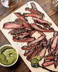 Grilled Skirt Steak with Green Sriracha