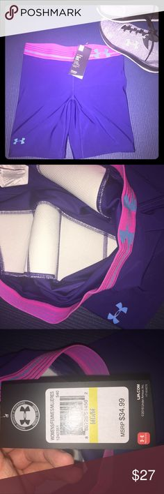 NWT under armpit compression shorts Purple Under Armor compression shorts with thigh padding. Perfect for softball, spinning/cycling, or any other activity where you want a little extra cushion for the tush! Under Armour Shorts