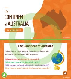 Teaching Resource: A 20 slide editable PowerPoint template to use when introducing students to the geographical features of Australia. Teaching Geography, Australia Map, Continents, Lesson Plans, Teaching Resources, Did You Know, Traveling By Yourself, Stage, Students