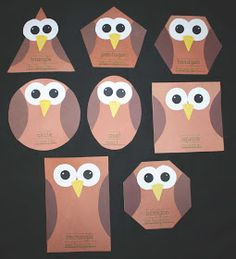 Classroom Freebies: Silly Shaped Owls. Can do this with 3D shapes as well. Works for my owl themed classroom:)