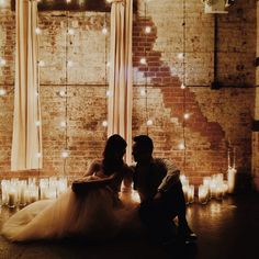 This would be a romantic photo for an urban loft wedding: lighting and curtains and candles. Chic Wedding, Dream Wedding, Wedding Things, Loft Wedding Reception, Wedding Decor, Wedding Lighting, Fall Wedding, Wedding Stuff, Wedding Gowns