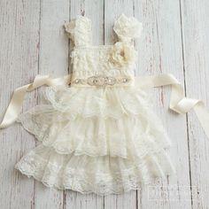 Ivory Lace Flower Girl Dress,Flower Girl Dresses,Ivory lace dress,baby dress,christening dress,girls dressed  #Promotion� #PaidAd #ad #affiliatelink