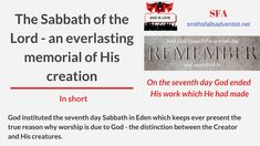 God set the Sabbath to be an everlasting memorial of His work of creation. The seventh day therefore lies at the very foundation of divine worship. Knowing God, Sabbath, Gods Love, Christ, Blogging, Blessed, Lord, Messages, Memories