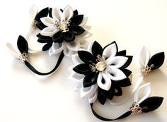 Kanzashi Fabric Flowers. Set of 2 hair clips. Black and by JuLVa