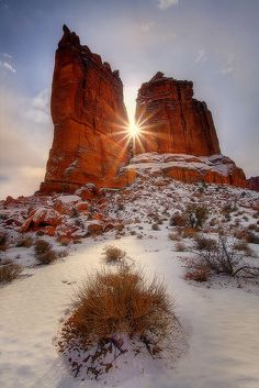 **arches np, winter storm clearing sunburst, by kevin mcneal Natural Beauty, Landscape Art, Mountains, Art Brush, Amazing, Utah Usa, Nature, World, Monument Valley