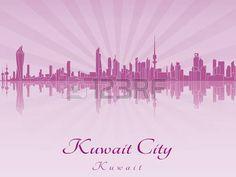 Horizonte de la ciudad de Kuwait en orquídea púrpura radiante en el archivo vectorial editable Editable, Graphic Design, City, Asia, Movie Posters, City Skylines, Mexico City, Countries, Cities