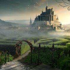 Castle beyond the labyrinth garden wallpaper Fantasy City, Fantasy Castle, 3d Fantasy, Fantasy Kunst, Fantasy Places, Fantasy Setting, Fantasy World, Garden Wallpaper, World Wallpaper