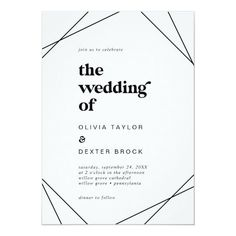Modern Geometric The Wedding Of Invite in black and white with rustic bohemian typography and boho diamond and triangle shapes with a modern chic industrial feel. Click to customize with your personalized details today.