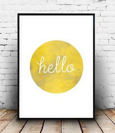 Bonjour imprimer, décor de couloir, couleur de l'eau, décor mural, affiche Bonjour, impression de couloir, affiche de couloir, décor minimaliste, jaune, simple, maison