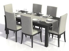 Where does this dining room set fit best? 1) Restaurant 2) vacation home 3) culinary learning kitchen   Visualize your dining space in 3D for free: http://planner.roomsketcher.com/?ctxt=rs_com  Popular item in RoomSketcher Floor Planner - Dining Room Set for 2D & 3D floor plans  #floorplans #floorplanner #diningrooms