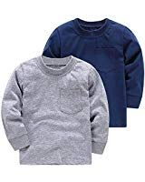 06440544cc2 ALALIMINI Baby Toddler Boy s T-Shirts Long Sleeve 2-Pack Soft Cotton White  Navy Gray 2T 3T 4T 5T(3)