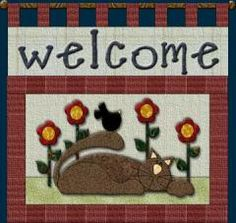 """Welcome Cat Wall Hanging 