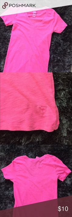 """Hot Pink V Neck PINK PINK Hot pink V Neck. Measures 19.5"""" from armpit to hemline. Small stain on back of shirt — refer to pic provided. PINK Tops Tees - Short Sleeve"""