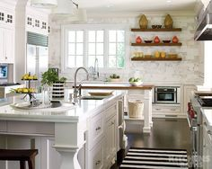 Marble backsplash and counters