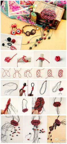 Classical tassels, Chinese knot making necklace  много идей для украшений - практически в одной картинке Collar Diy, Hemp Jewelry, Jewelry Knots, Macrame Jewelry, Jewelry Crafts, Chinese Knotting, Braided Necklace, Knot Necklace, Nautical Knots
