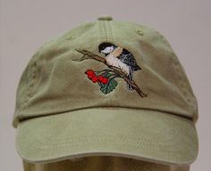 Black Capped Chickadee Bird Hat - One Embroidered Wildlife Cap - Price Embroidery Apparel - 24 Color Caps Available