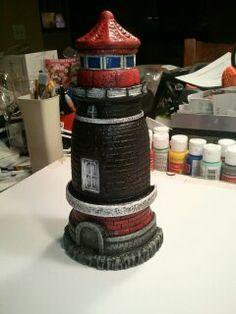 Plaster Art Hand Painted Lighthouse by John Rahn