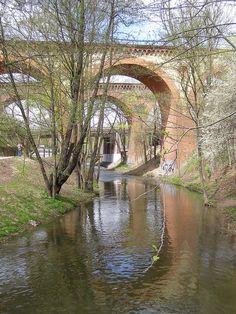 Historical railway bridges over the Łyna, Olsztyn, Poland