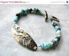 SALE Turquoise Bracelet with Running Horse Link // Bronze with Aqua Patina