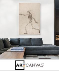 Ready-to-hang Study of the Human Figure - Lateral View Canvas Art Print for Sale canvas art print for sale. Free hanging accessories and insurance.
