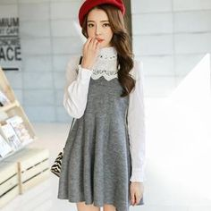 Buy 'Porta – Ruffled-Trim Lace-Panel Knit Dress' with Free International Shipping at YesStyle.com. Browse and shop for thousands of Asian fashion items from China and more!
