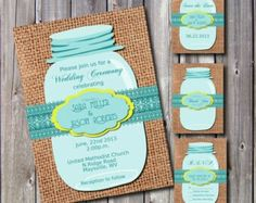 Custom Mason Jar Wedding Program wedding ideas Pinterest Mason