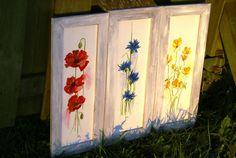 Aquarell Blumen Mohn Kornblumen und Veilchen
