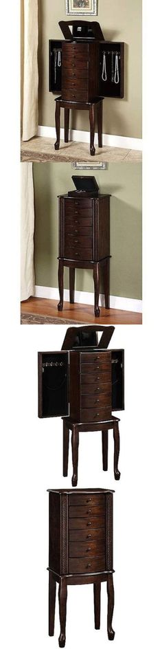 Jewelry Boxes 3820: Mirrored Jewelry Armoire Box Organizer Tall Stand Up Cabinet Walnut Wood Storage BUY IT NOW ONLY: $114.0