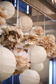 32 Simple and Easy DIY Tissue Paper Flower Garland - GODIYGO.COM Simple and easy diy tissue paper flower garland 31 Paper Flower Garlands, Tissue Flowers, Paper Flowers Wedding, Burlap Party, Partys, Paper Lanterns, Gold Lanterns, Hanging Lanterns, Reception Decorations