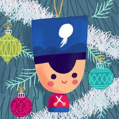 1985 Adorable toy soldier in a Christmas tree