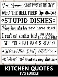 These funny Kitchen Quotes are great for making some cute wooden kitchen signs. Kitchen Sign Diy, Wooden Kitchen Signs, Funny Kitchen Signs, Funny Signs, Kitchen Ideas, Kitchen Sayings, Quotes For The Kitchen, Funny Kitchen Quotes, Kitchen Letters
