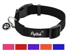 Basic Nylon Dog Collar Designer Solid Adjustable Puppy Pet Fancy Collars with ID Tag *** Check this awesome product by going to the link at the image.
