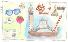 Dag Venetie. #illustratie #artjournal #watercolour #vakantie #italie #Sandysign. http://sandysign.nl #venetie. #holiday #italy #illustraties.