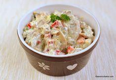 Salata de pui cu maioneza si ciuperci reteta savori urbane Turkey Recipes, Potato Salad, Brunch, Yummy Food, Chicken, Dinner, Ethnic Recipes, Fitness, Side Dishes