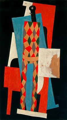 Harlequin, 1915 by Pablo Picasso, Cubist Period. Synthetic Cubism. genre painting. Museum of Modern Art, New York, USA