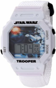 Star Wars Kids' 9000676 Storm Trooper Watch With Book Star Wars. $19.99. Combo pack - storm trooper digital watch and reader book. 3D dial. 2 year guarantee. Water-resistant to 50 M (165 feet). LED light. Save 31%!