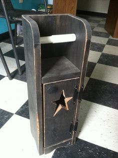 Country Primitive Star Toilet Paper Holder Outhouse By Jessicuts
