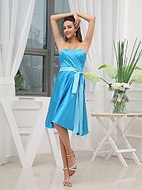 Strapless Elastic Satin Knee Length Bridesmaid Dress