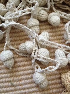 crocheted white acorn garland.