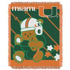 Miami College Baby 36x46 Triple Woven Jacquard Throw - Fullback Series