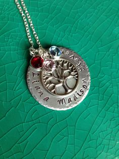 Handstamped Personalized Family Tree Pendant with a Sterling Silver Necklace and Three Swarovski Crystal Birthstones, Handmade #SPSTeam