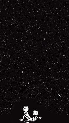 calvin and hobbes in the starry night #iPhone #5s #wallpaper