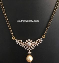 Jewelry OFF! Black Beads Mangalsutra Chain Models with diamond pendants Diamond Mangalsutra, Gold Mangalsutra Designs, Gold Earrings Designs, Gold Jewellery Design, Long Pearl Necklaces, Gold Necklace, Pendant Necklace, Gold Jewelry Simple, Jewelry Model