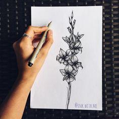 gladiolus flower study by ink. Gladiolas Tattoo, Gladiolus Flower Tattoos, Birth Flower Tattoos, Spine Tattoos, Body Art Tattoos, Cover Tattoo, Get A Tattoo, Piercing Tattoo, August Flower Tattoo