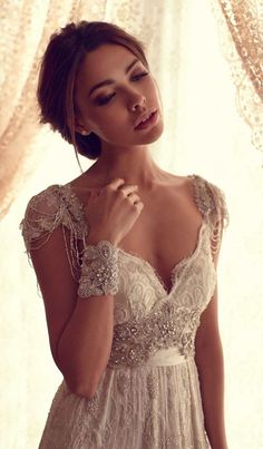 Anna Campbell sequins vintage wedding dresses